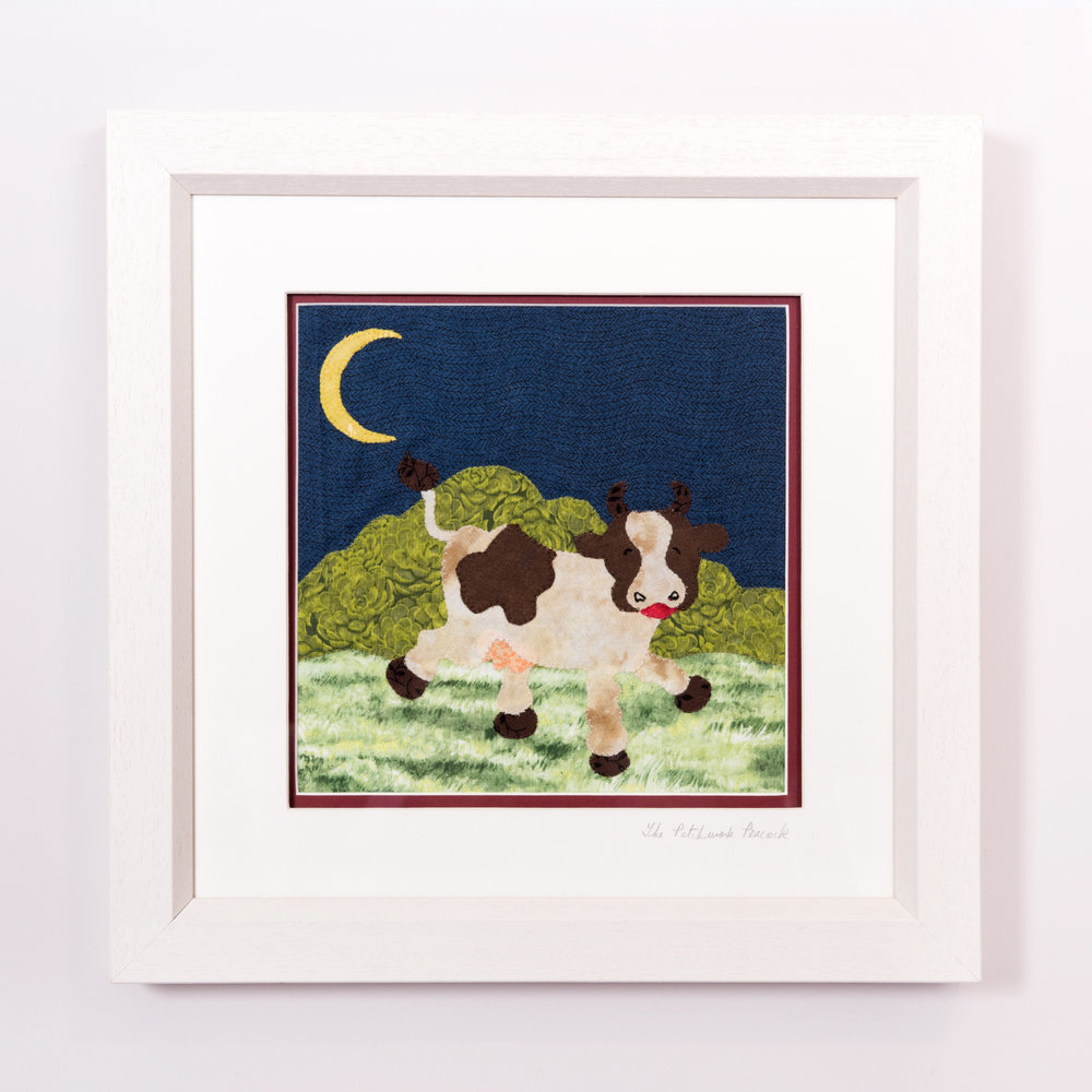 "Cow and Moon €80   8""x8"" in an 10""x10"" frame"