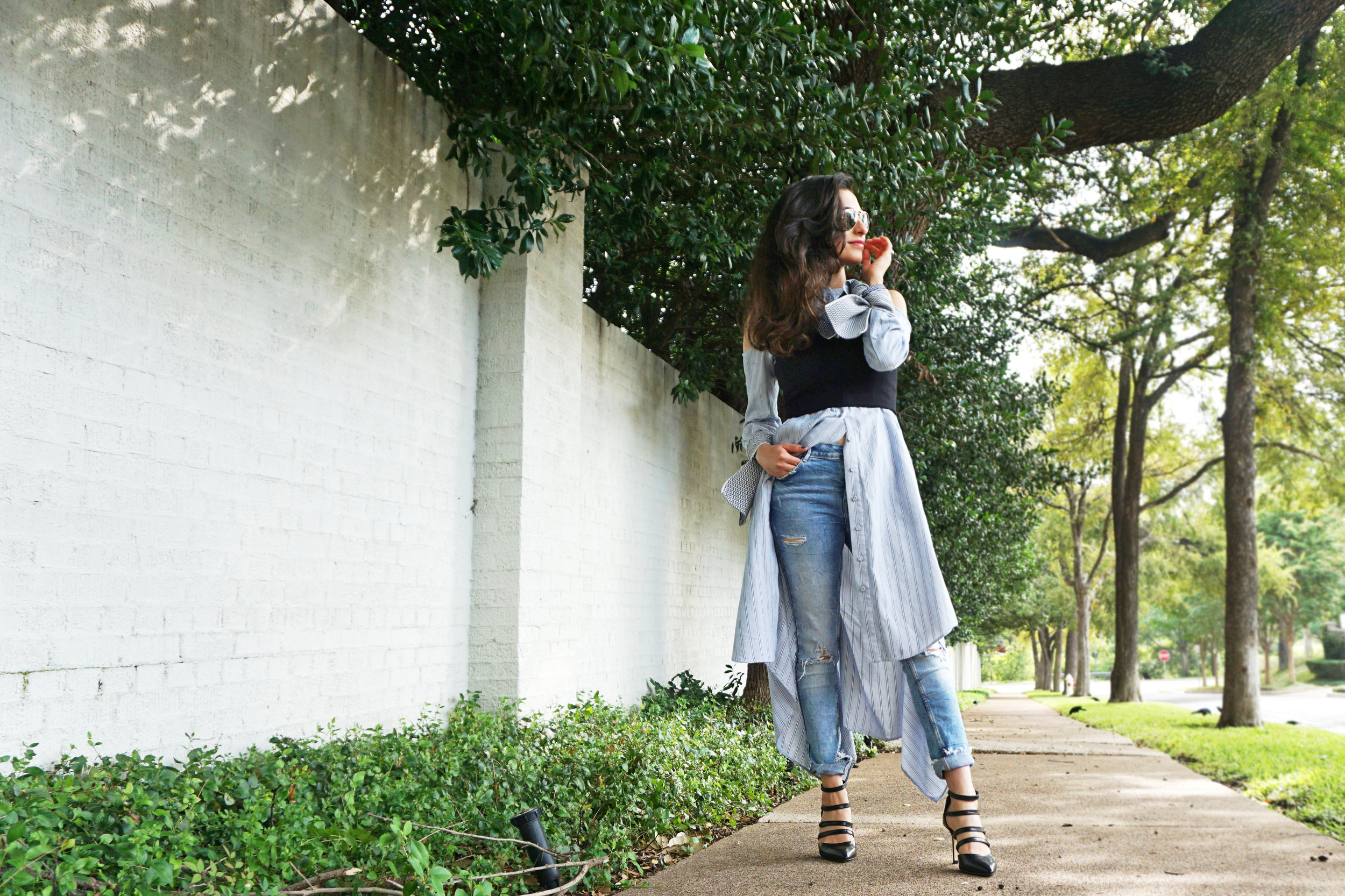 Crop top and Distressed denim - Designer Lip Service- Shirin Askari