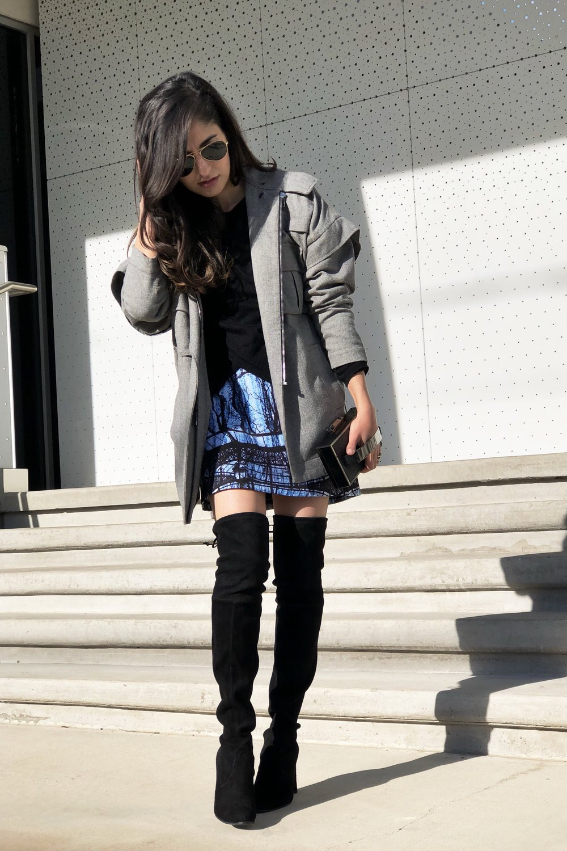 DesignerLipService.com   Statement skirt with gray jacket