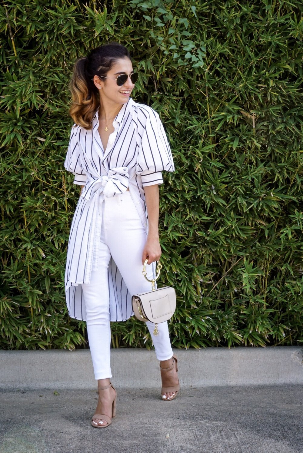 Shirin Askari - Stripe Shirt | White Denim - DesignerLipService.com