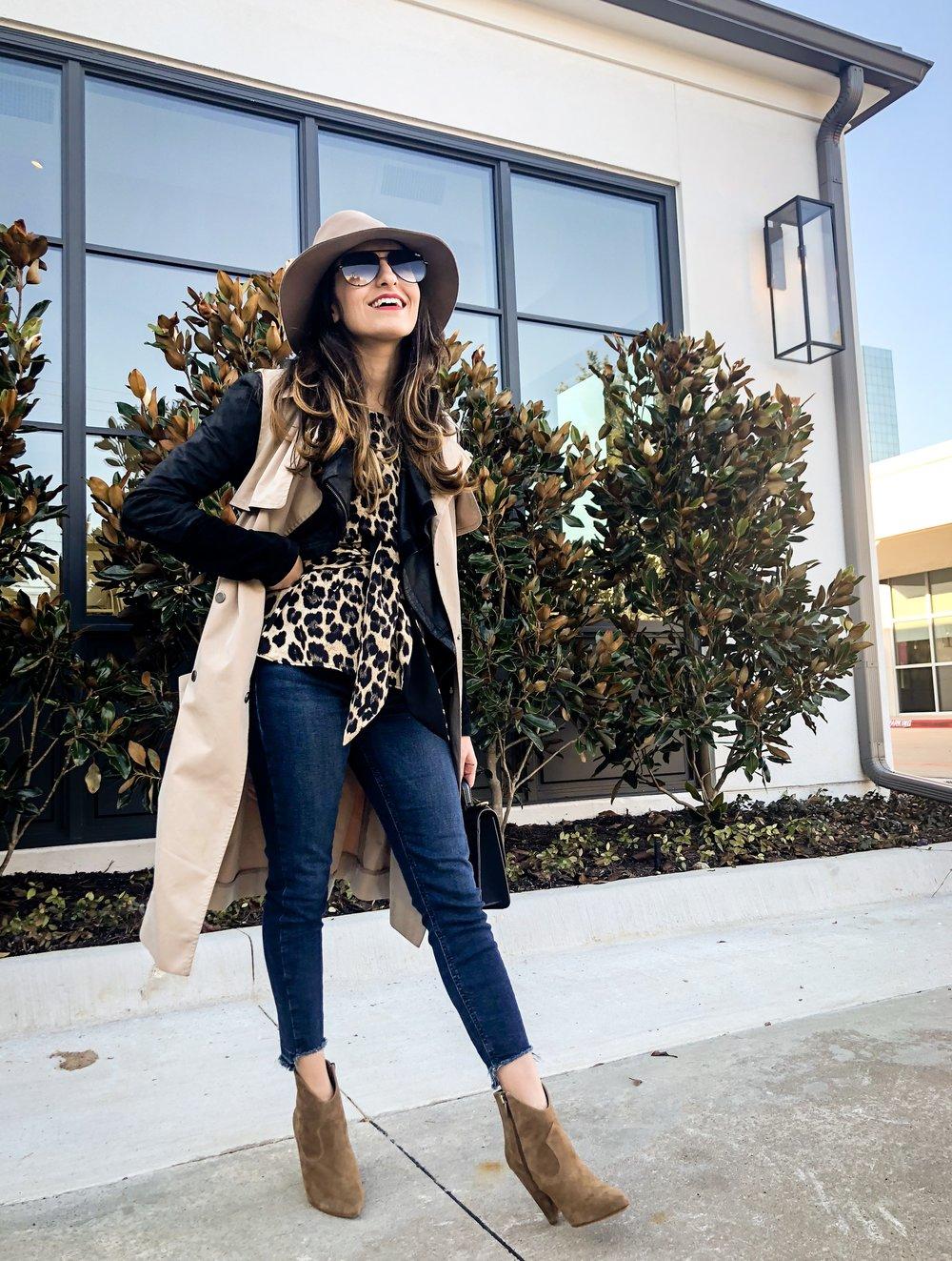 Shirin Askari | Leopard Print Top with Layered Jacket