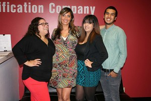 From left: Amanda Muniz (Production Manager CA), Jackie O'Malley, Martin Navarro (Trainer CA), Diana Lopez (Supervisor CA).