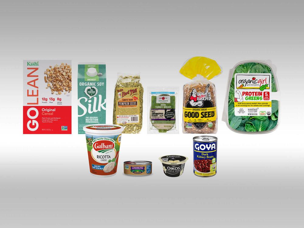 Image Credits (Clockwise From the Top Left): Kashi; Silk; Bob's Red Mill; Applegate Farms; Dave's Killer Bread; OrganicGirl; Goya; Dannon: Genova; Galbani.