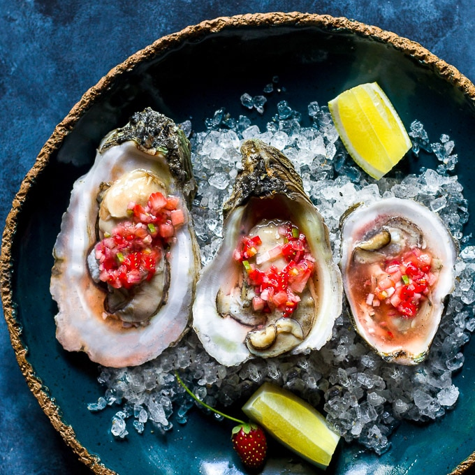 Oysters with Fresh Strawberry mignonette recipe-1