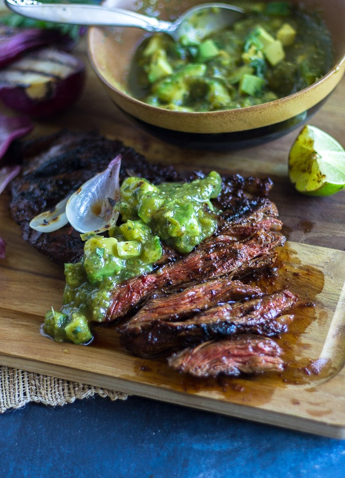 Grilled Skirt Steak Recipe with Tomatillo Avocado Salsa-www.beyondthebayoublog.com