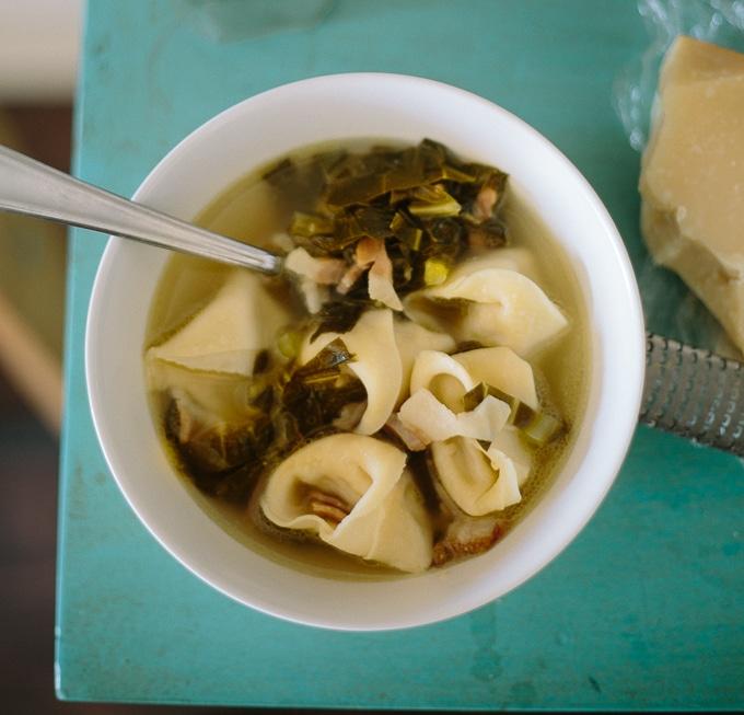 tortellini with collard green brodo-www.beyondthebayoublog.com