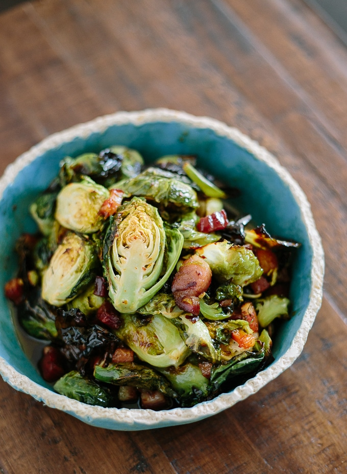 roasted brussel sprouts bacon syrup-www.beyondthebayoublog.com