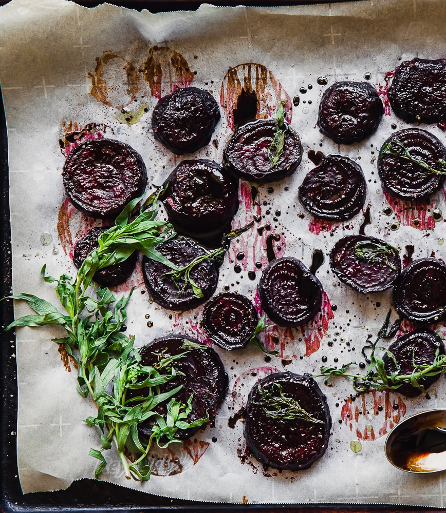 roasted beets with tarragon and balsamic glaze