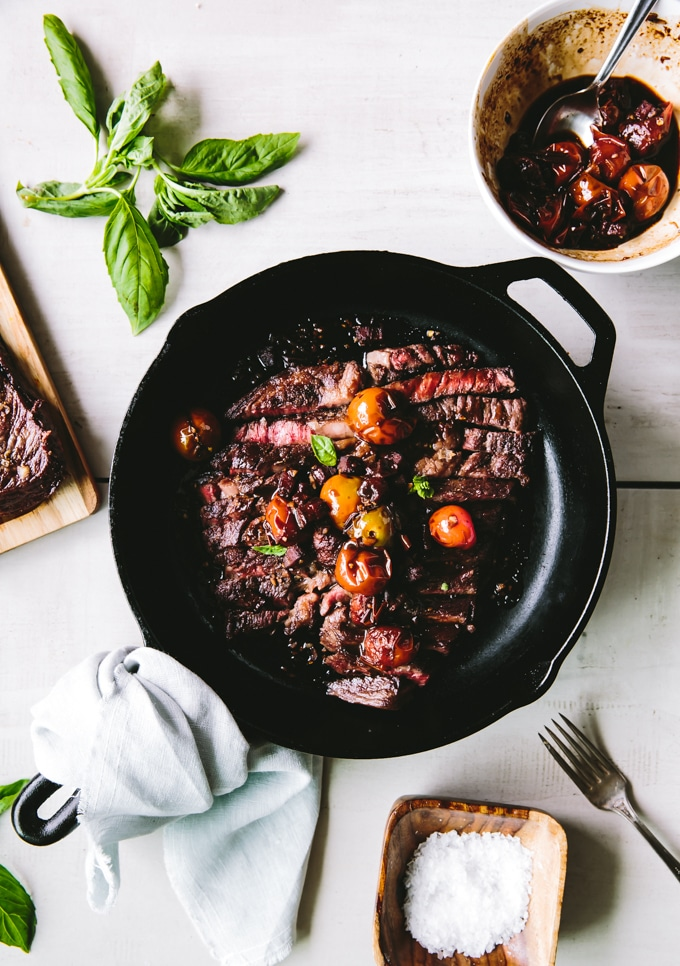 Wagyu Steak recipe tomato balsamic and bacon-beyond the bayou food blog