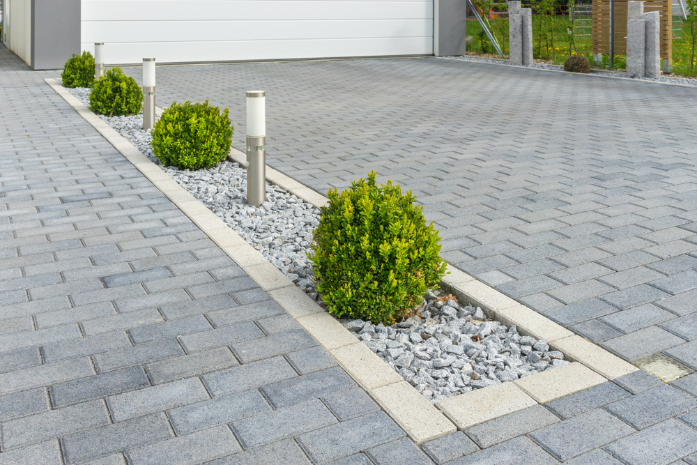 Close up on designed driveway ideas