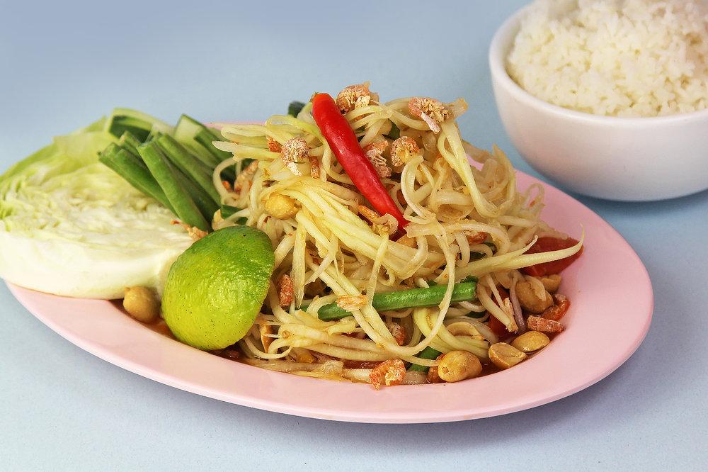 PAPAYA SALAD (Som Tum Thai) 🌶   (Gluten-Free)  Shredded green papaya, tomato, green bean, peanuts *PLEASE ASK FOR A VEGAN OPTION* $12