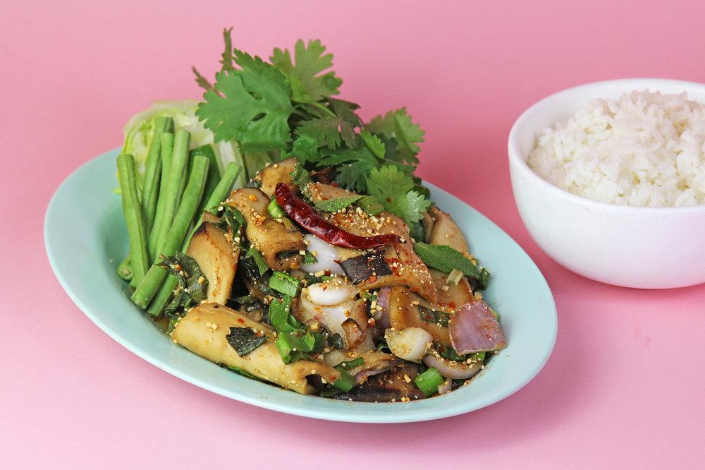 GRILLED MUSHROOM SALAD (Nam Tok Styled) (Gluten-Free)   Grilled seasonal mushrooms with mint, chili, kaffir lime, saw leaves, shallot, and scallion  12