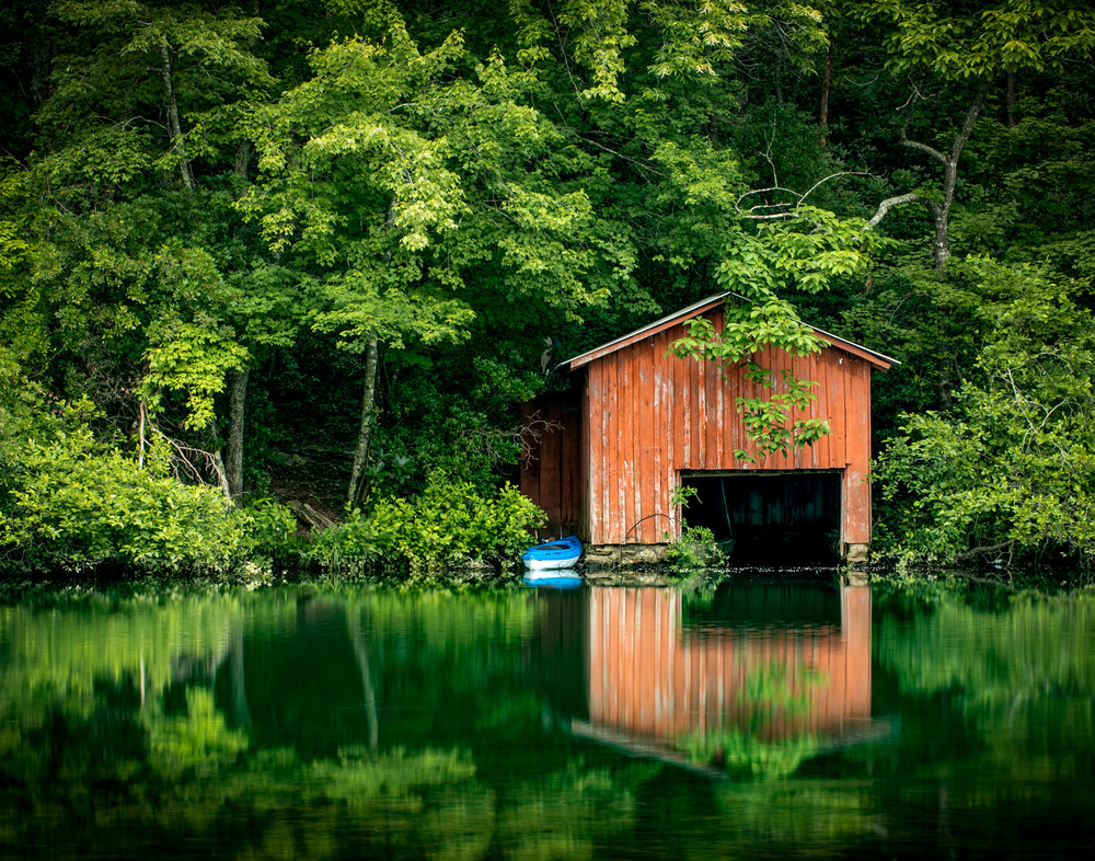 A boat house on the lake above  DeSoto Falls  in Alabama.