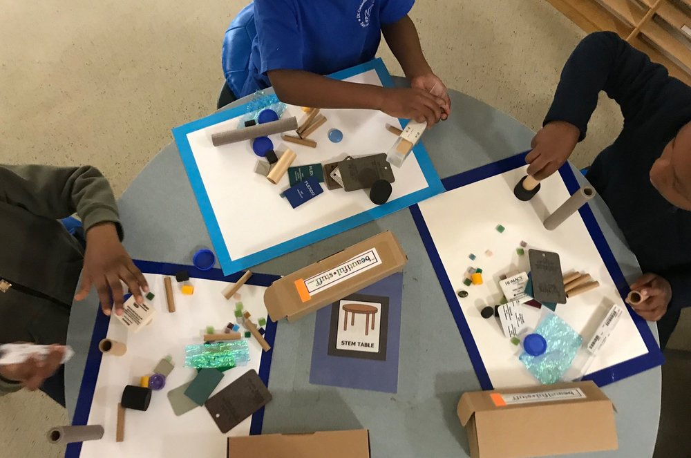 Students explore a set of classic treasure boxes.