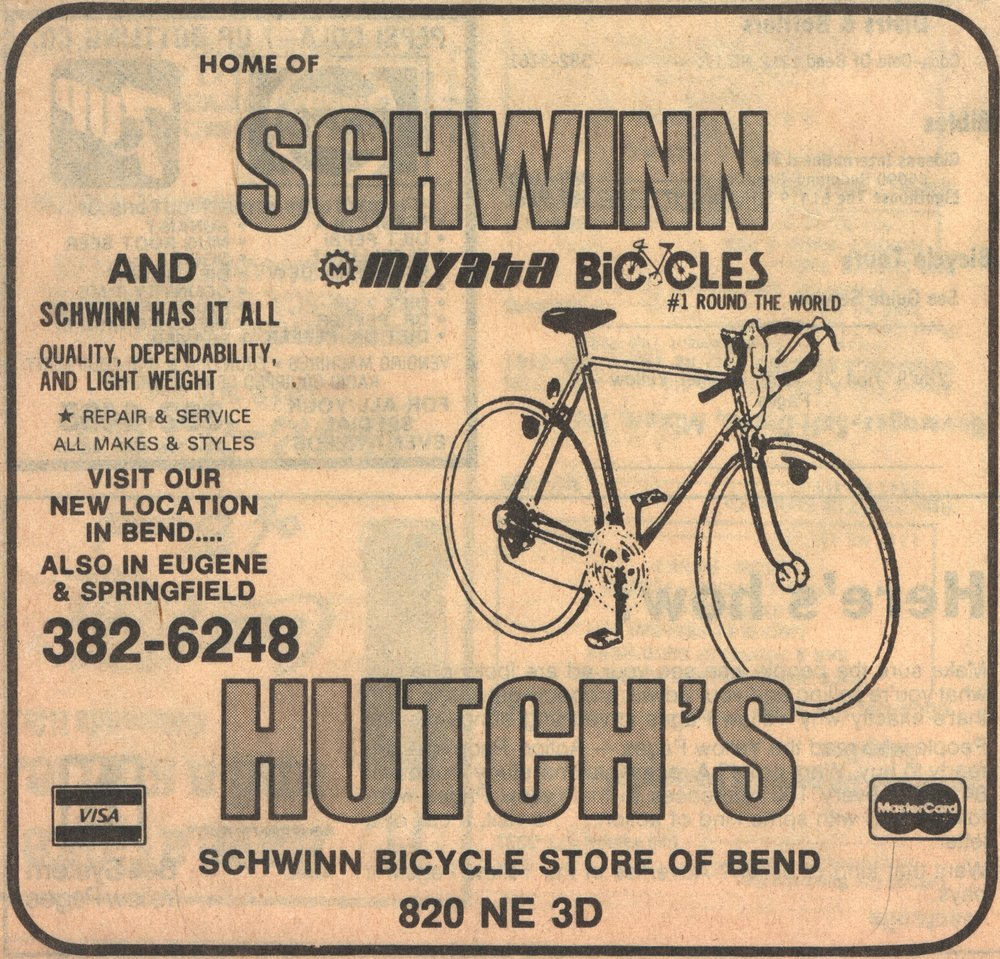 An early Hutch's Bicycles Yellow Pages ad.