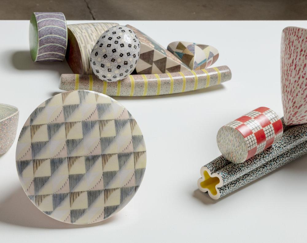 Karen Thuesen Massaro   Forum  (detail)   2008 Clay and Glazes 8.6 x 56 x 21 inches 7 parts