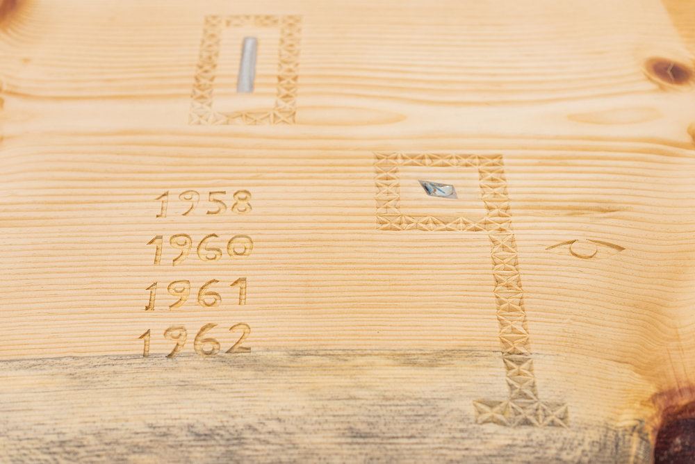 Communal Table  (detail)   2018 Pine, ceramic, creek water, tile, granite, mica, obsidian, Aspen leaves, oil paintings, river clam shells, sage brush, serpentine, tin, tufa, sheep wool, wax 198 x 30 x 42 inches