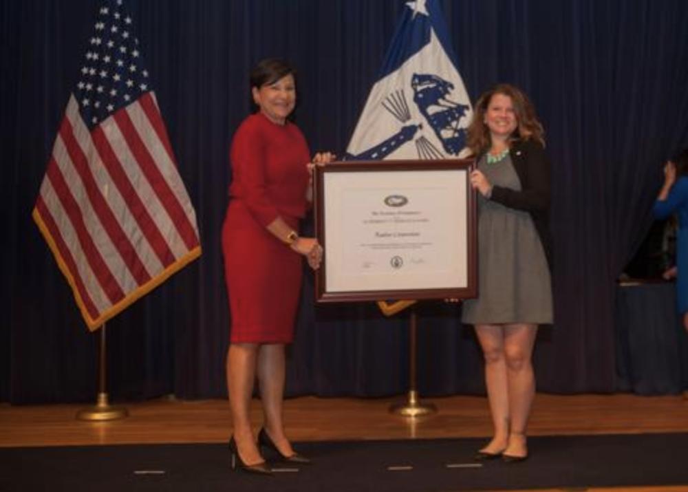 "U.S. Secretary of Commerce Penny Pritzker presents RADIUS CEO and President Saskia Foley with the President's ""E"" Award in Washington D.C. on May 16, 2016"