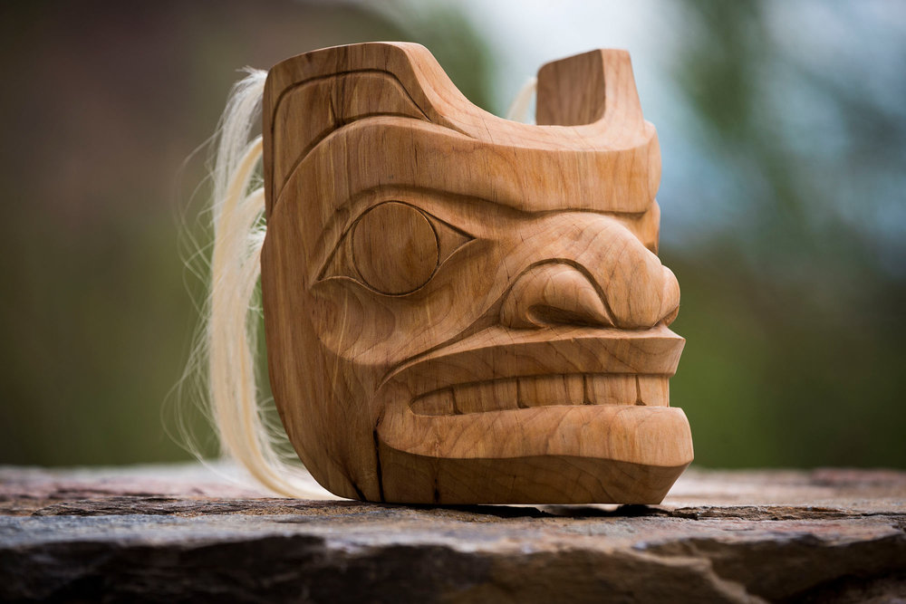 """Spirit Bear"" Mask / Alder, Human Hair"