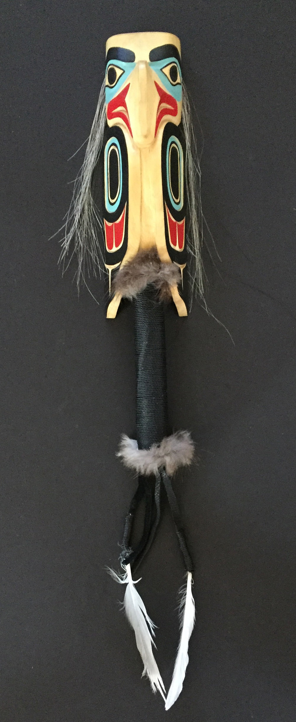 Eagle Rattle / Yellow Cedar, Wolf Fur, Feather, Twine