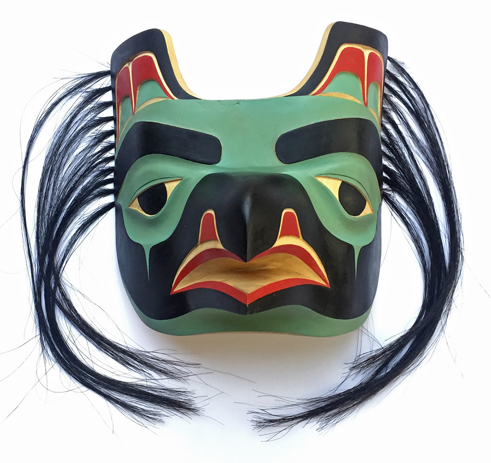 Raven Mask / Yellow Cedar, Horse Hair