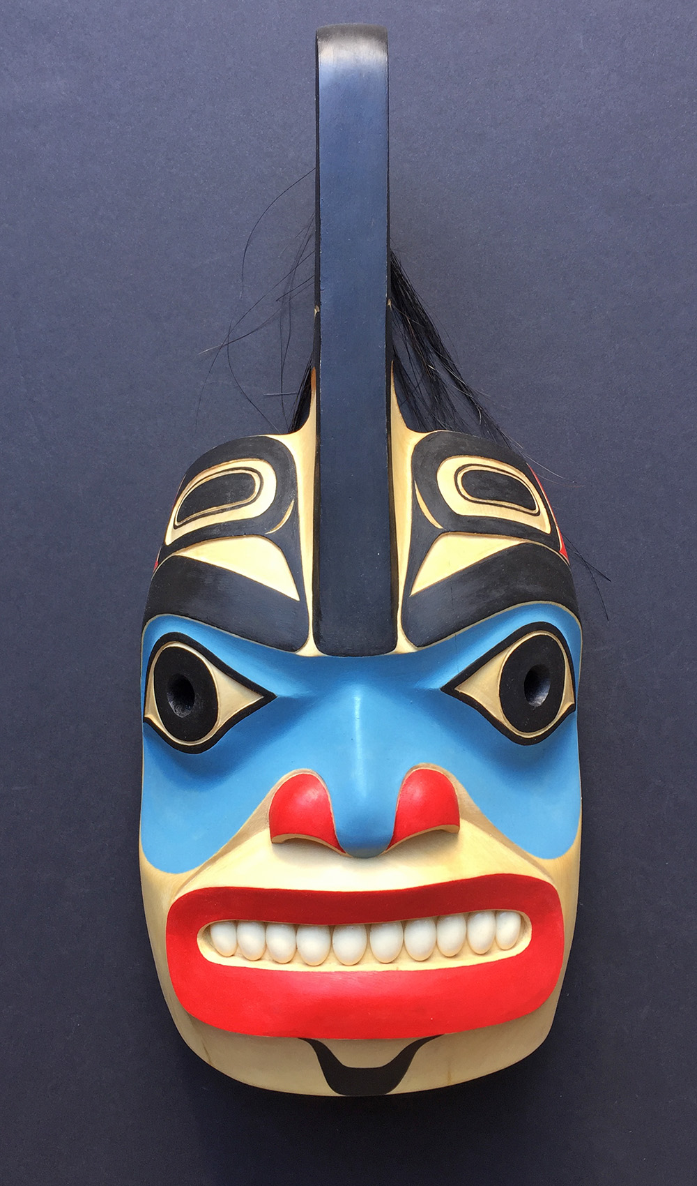 Killerwhale Mask / Yellow Cedar, Ivory, Horse Hair