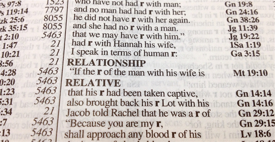 "Here's the one time ""relationship"" appears in the bible (from the NASB exhaustive concordance)"