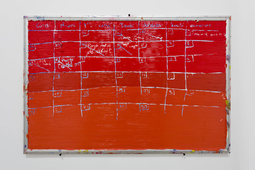 Spencer Lewis  Red Calender, 2018  Oil paint on white erase board  24h x 36w inches