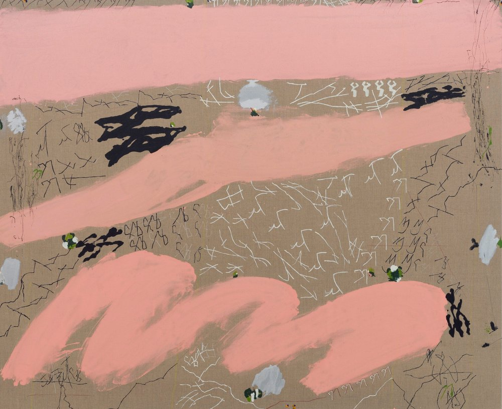 Maysha Mohamedi  Natural Vengeance, 2019  Oil, china marker and beach tar on linen  81 x 99 inches