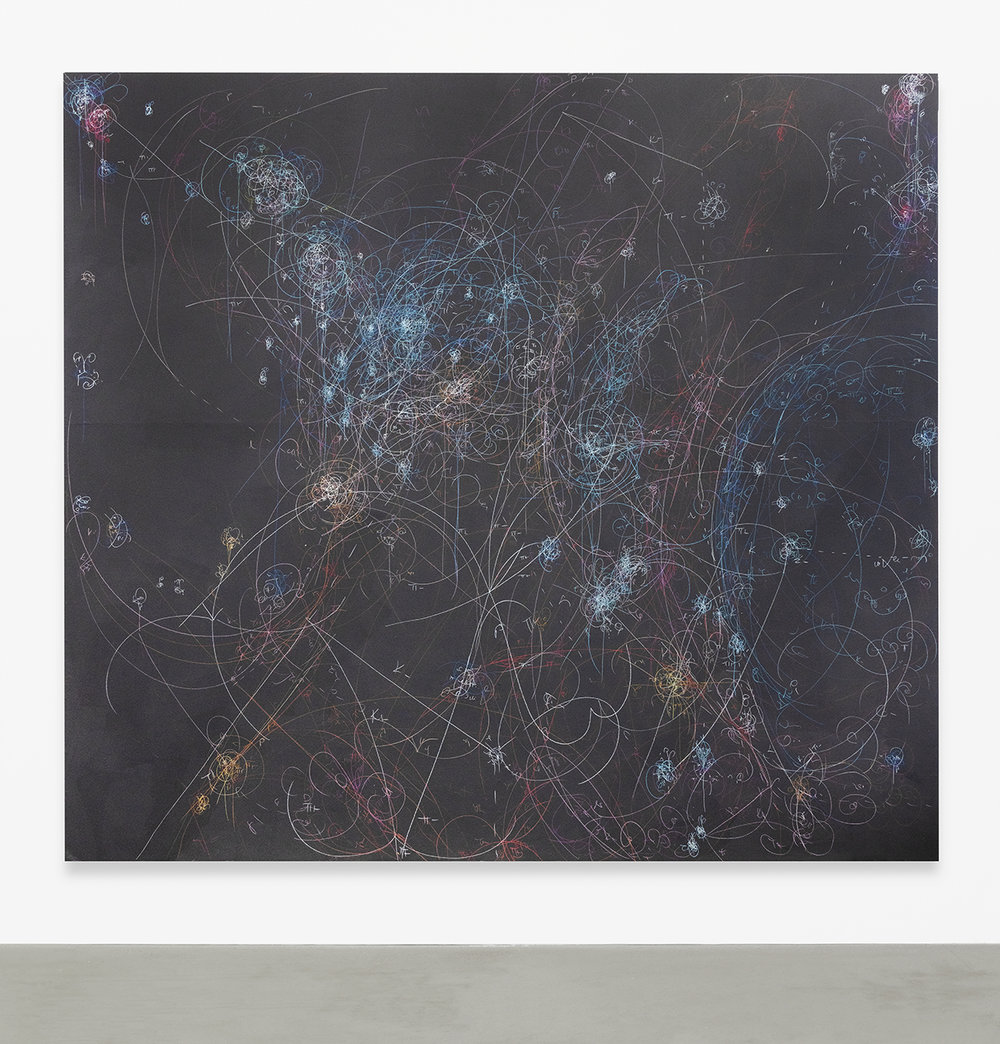 Kysa Johnson  blow up 363 - the long goodbye - subatomic decay patterns and red giant in NGC 3293, 2018  Fixed chalk, colored pencil and chalkboard paint on panel  108 x 120 inches