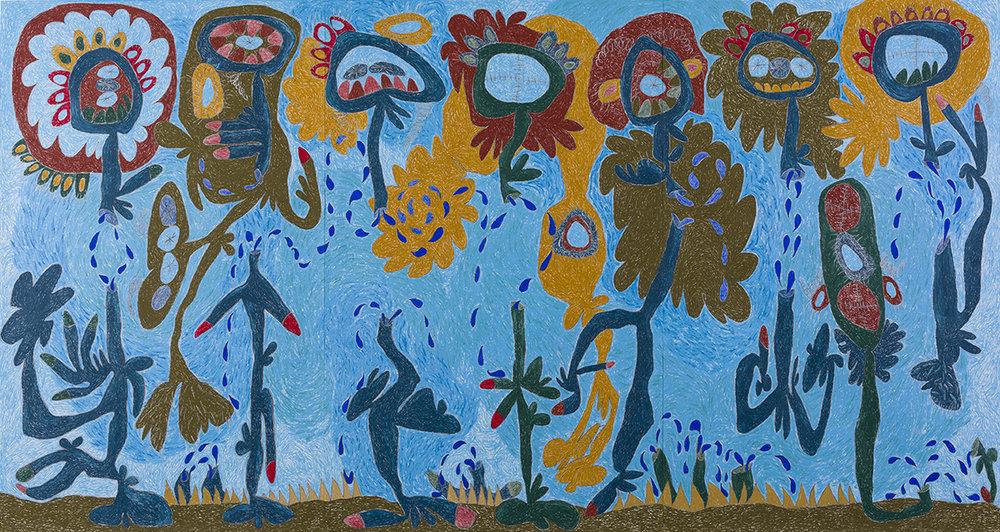 Nasim Hantehzadeh  Bani Adam, 2018  Oil pastel, colored pencil, and graphite on paper  95 x 178 inches