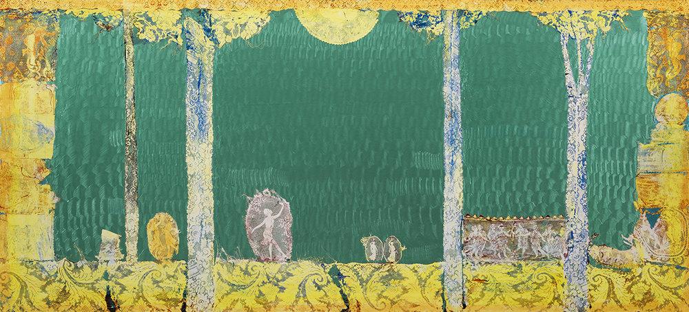 Mark Flood  The Women's Cult, 2017  Acrylic on canvas  90h x 198w inches