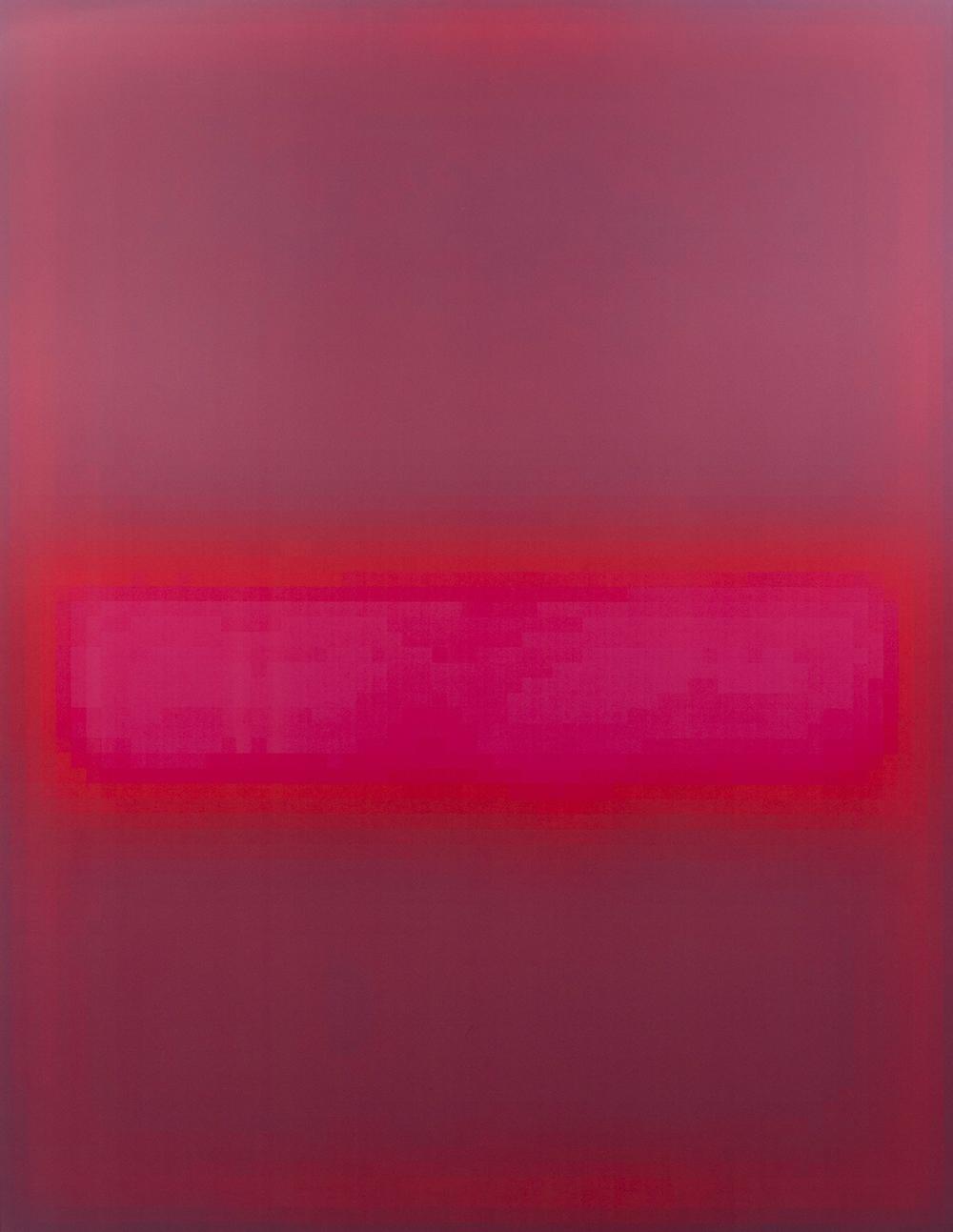 Mark Flood  Pink Glow, 2015  UV ink on canvas  108h x 84w in