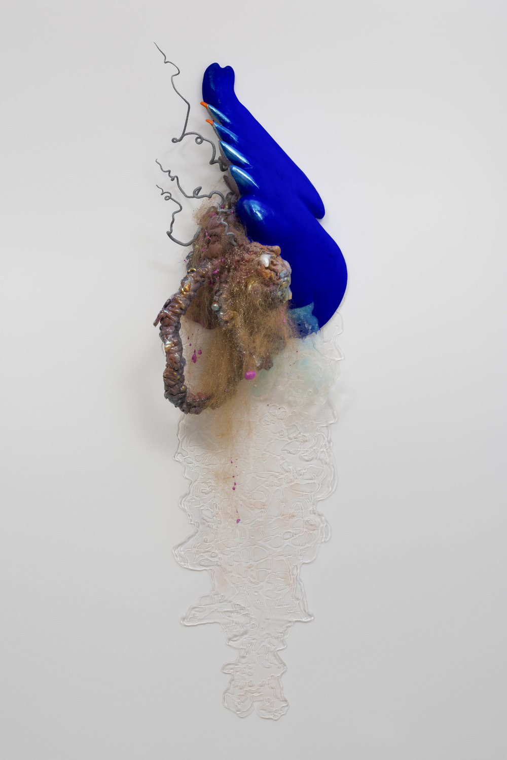 Galen Trezise  Nonlinear Armor, 2019  Expanding foam, epoxy resin, spray paint, acrylic, synthetic hair, epoxy resin, mica pigments, silicone, epoxy clay  73h x 21w x 11d inches