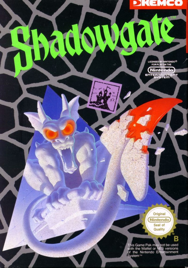 Box art for the 1989 Kemco port of Shadowgate for the NES. Isn't this some amazing Goosebumps looking shit or what? I'll never forget this.