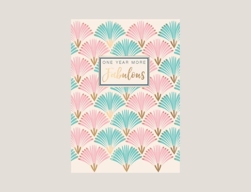 Jasmine - A contemporary floral range using fashion-inspired patterns in fresh joyful colours that play into current pantone trends.Gold foil highlights deliver simple birthday captions to complete a range that is both varied and harmonious.