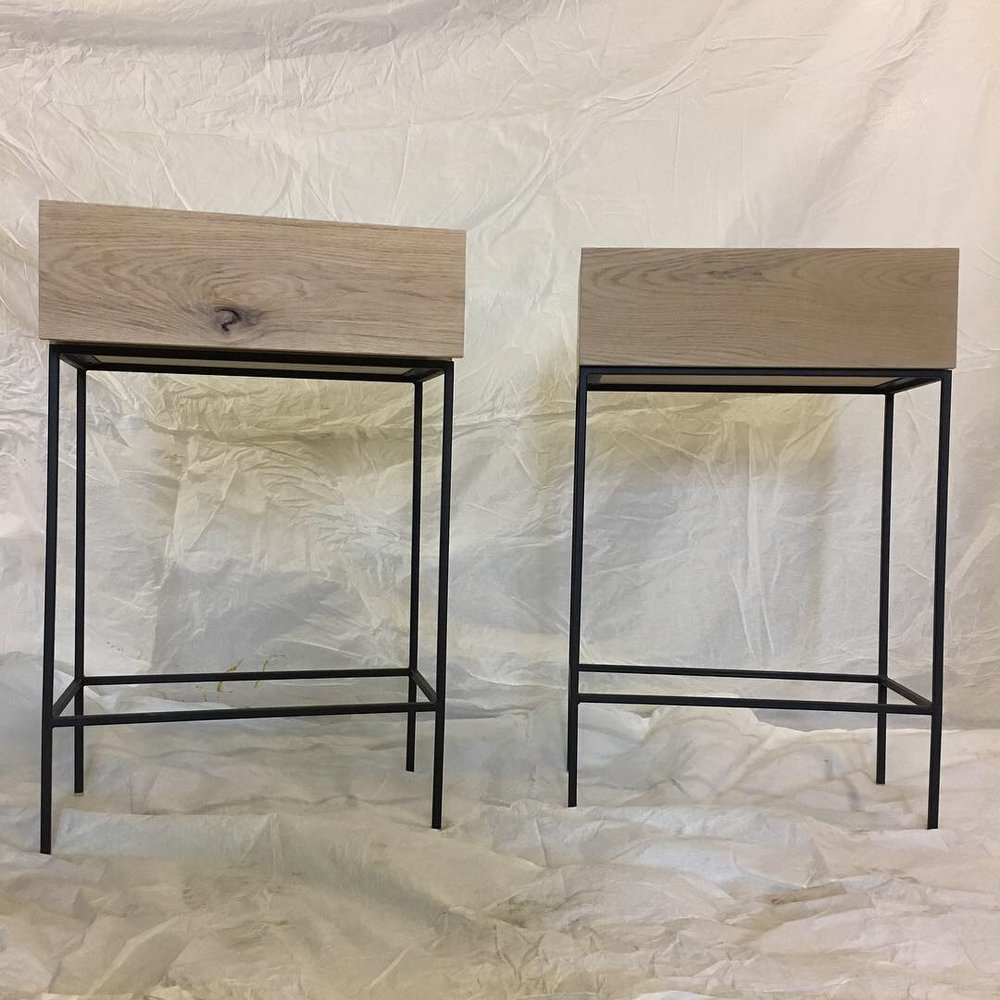 - oak on black steel nightstands