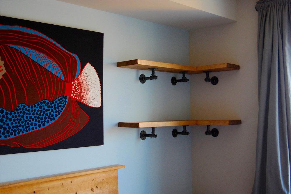 - butcherblock pine on black iron bedroom