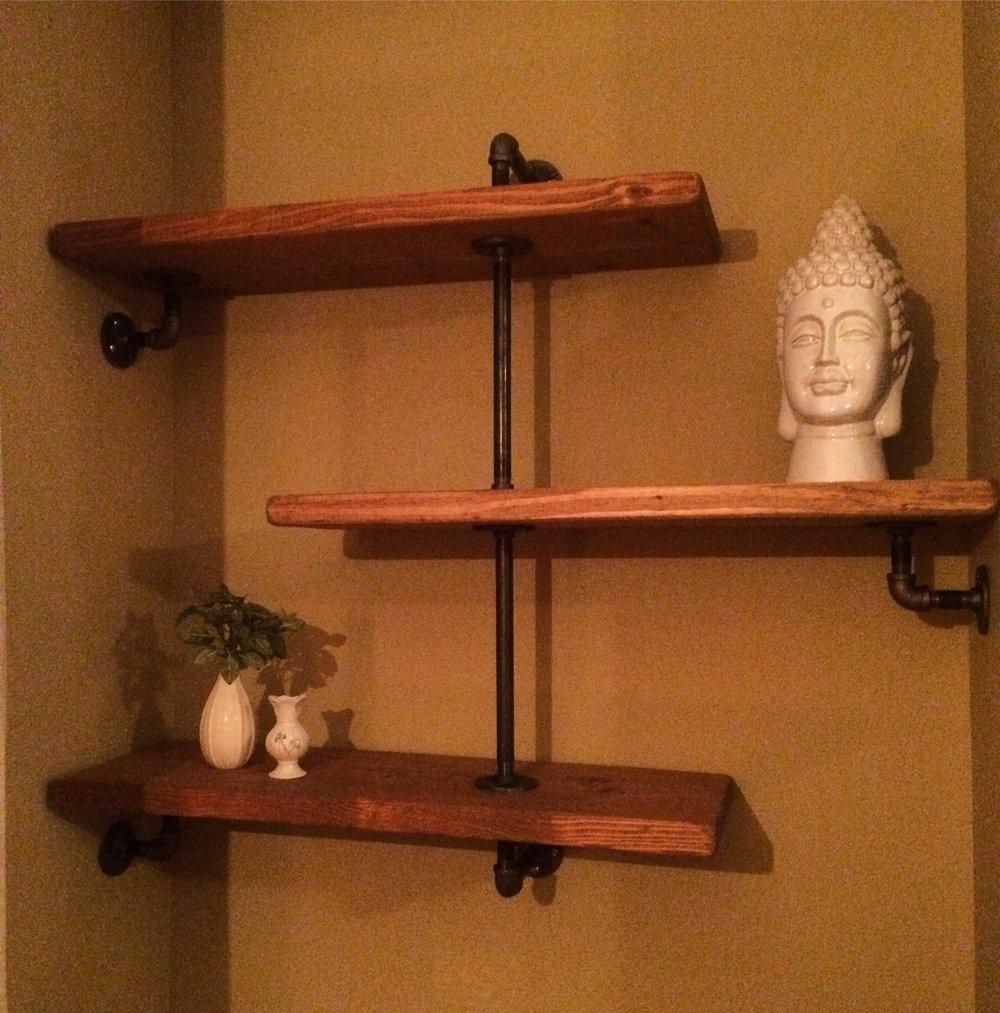 - offset butcher block pine on black iron