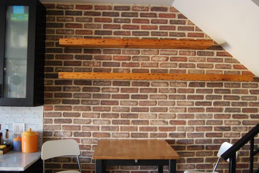 - reclaimed joist shelves