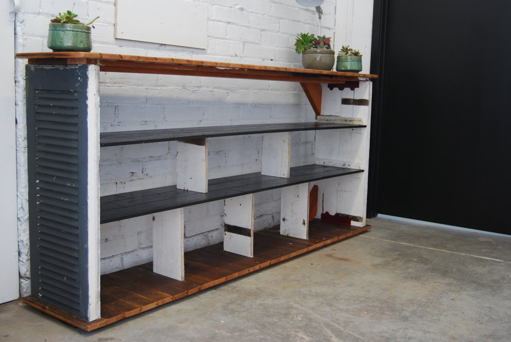 - repurposed shutters and flooring bookcase