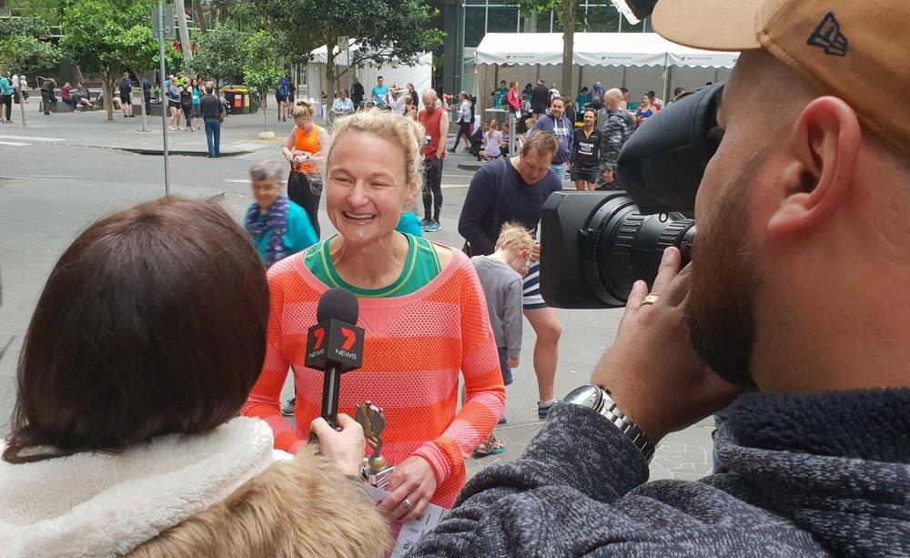Women's winner Meg Reeves interviewed by Channel 7 News