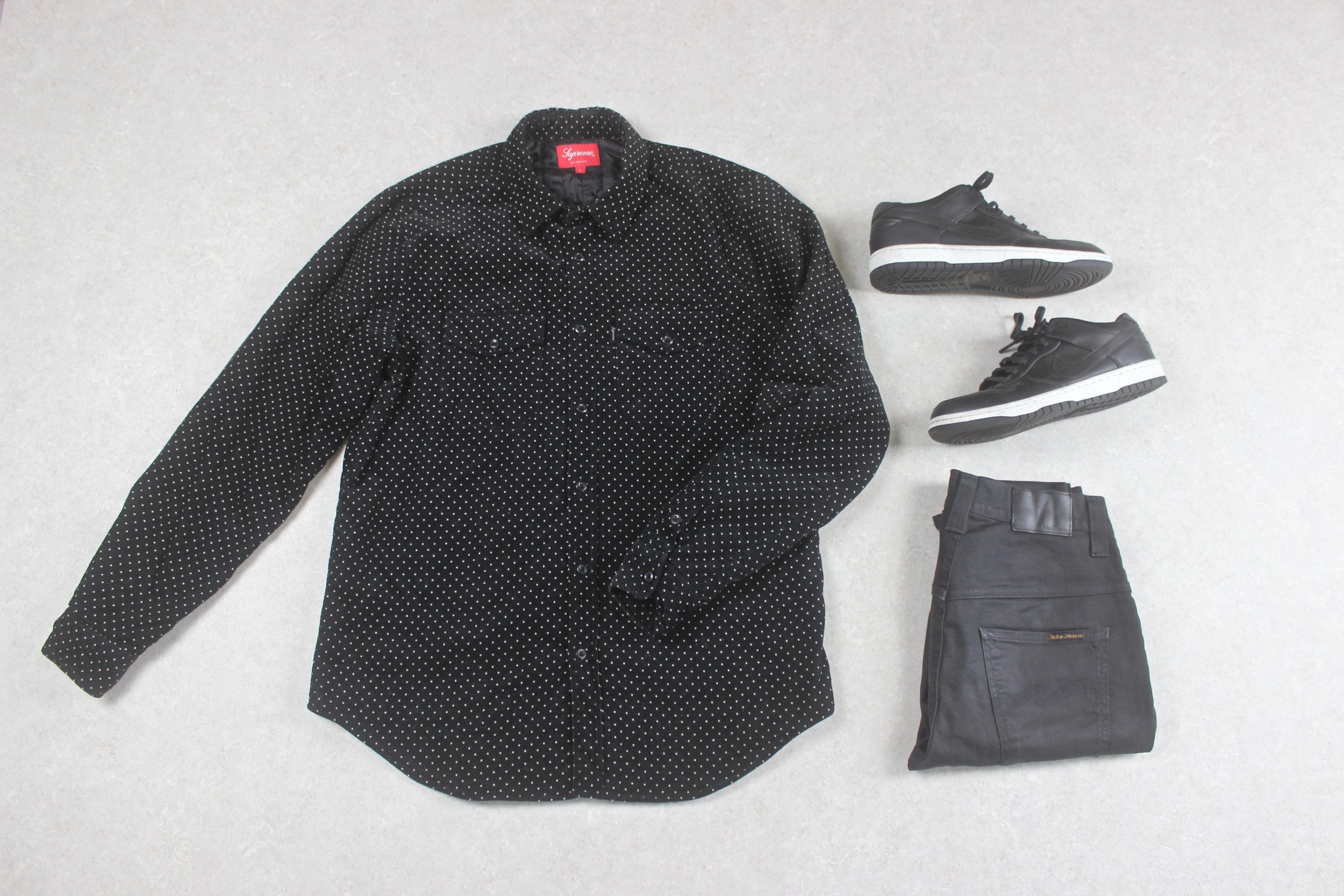 923ef67a640a Supreme - Shirt - Thick Black/White Polka Dot Corduroy - Large — melior.