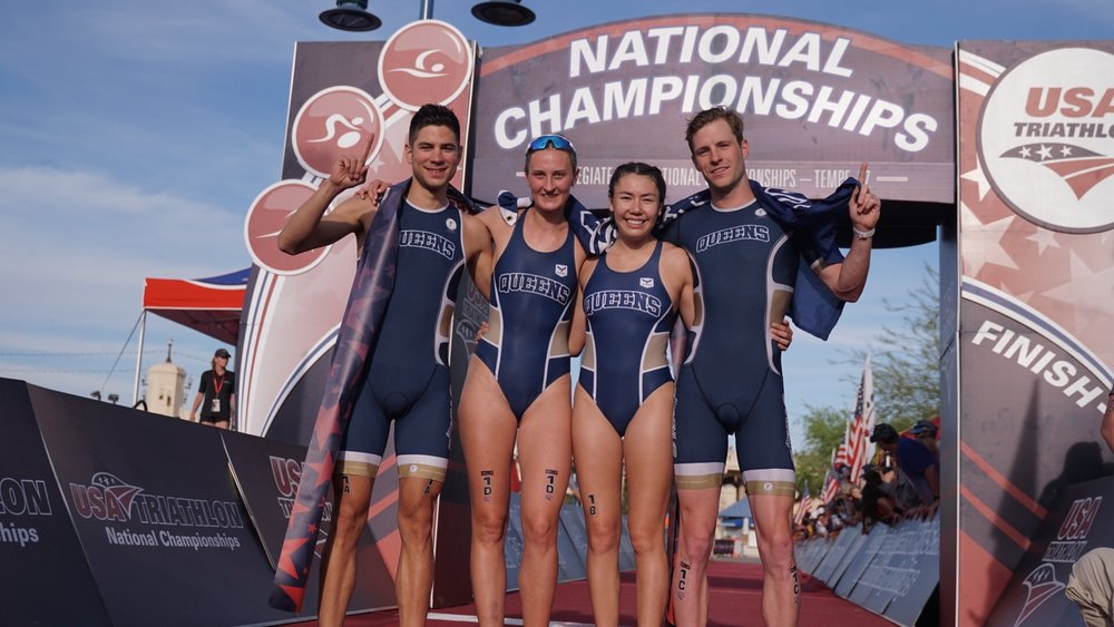 The First Place Queens University Mixed Team Relay Team (Photo: Full Send Triathlon)