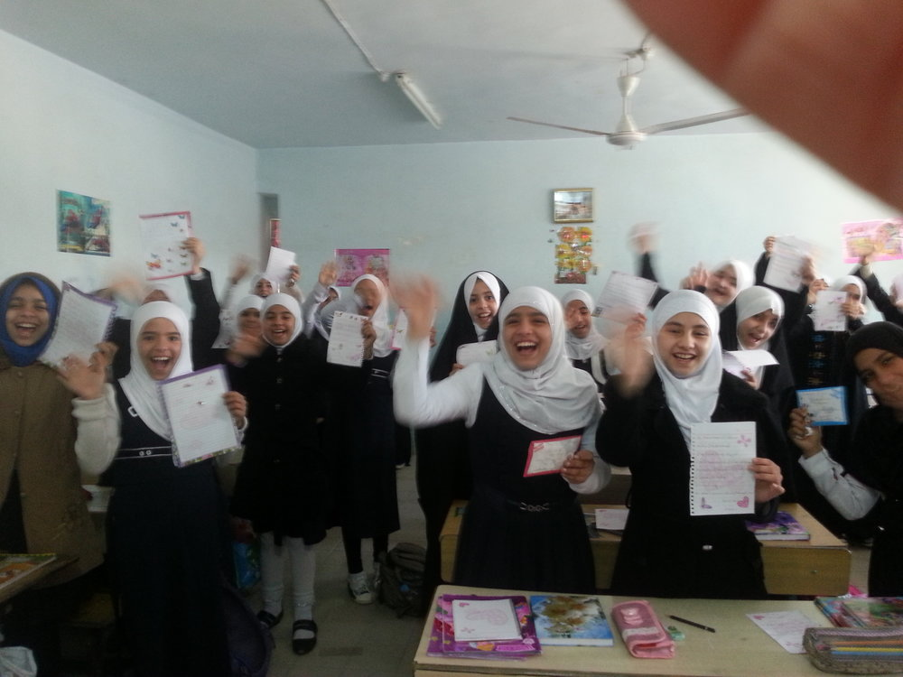 Iraqi girls receiving Letters for Peace in Najaf Iraq