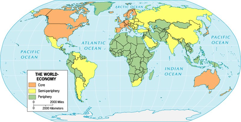 Figure 1: The World Economy split into Core, or Center, States, Semi-Periphery States, and Periphery States. [28]