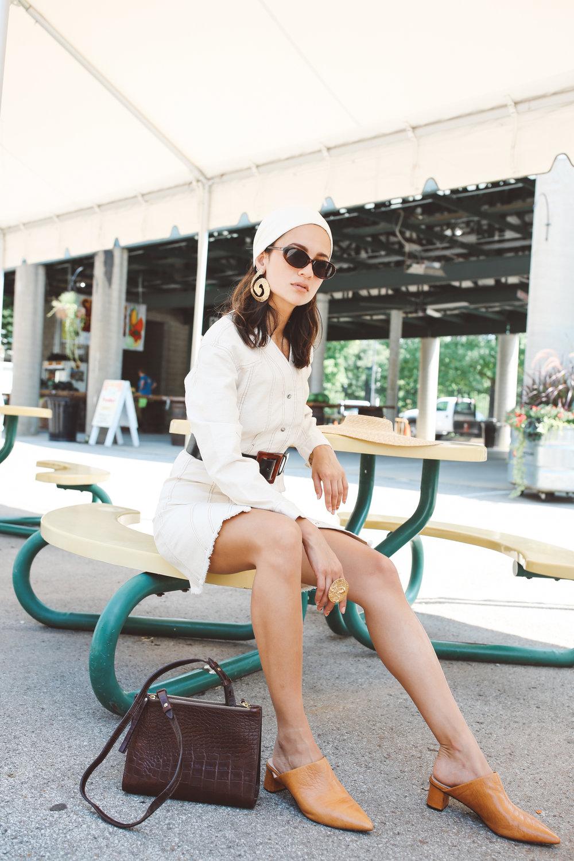 Iris dress  | €345  Izabel bag  | €380  Dilone mules  | €360