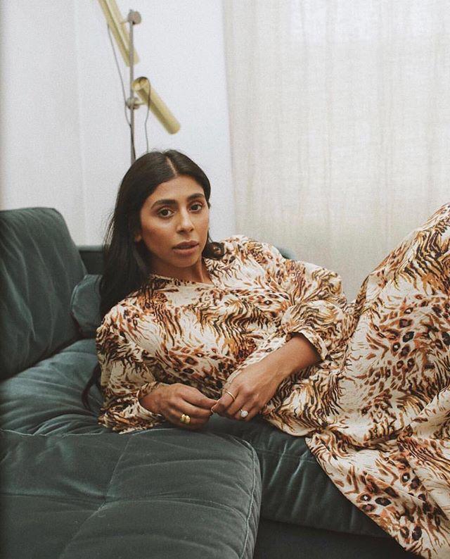 Comfortable and chic 💫 @monikh wears the Hazel balloon sleeve maxi dress #nanushkagirls #nanushka #ss19