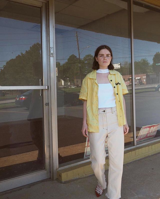 Saw it, loved it, kept it, still wears it. 💛 @double3xposure keeping it cool in the Rupa jeans from our Pre-Fall 2018 collection #nanushkagirls #nanushka