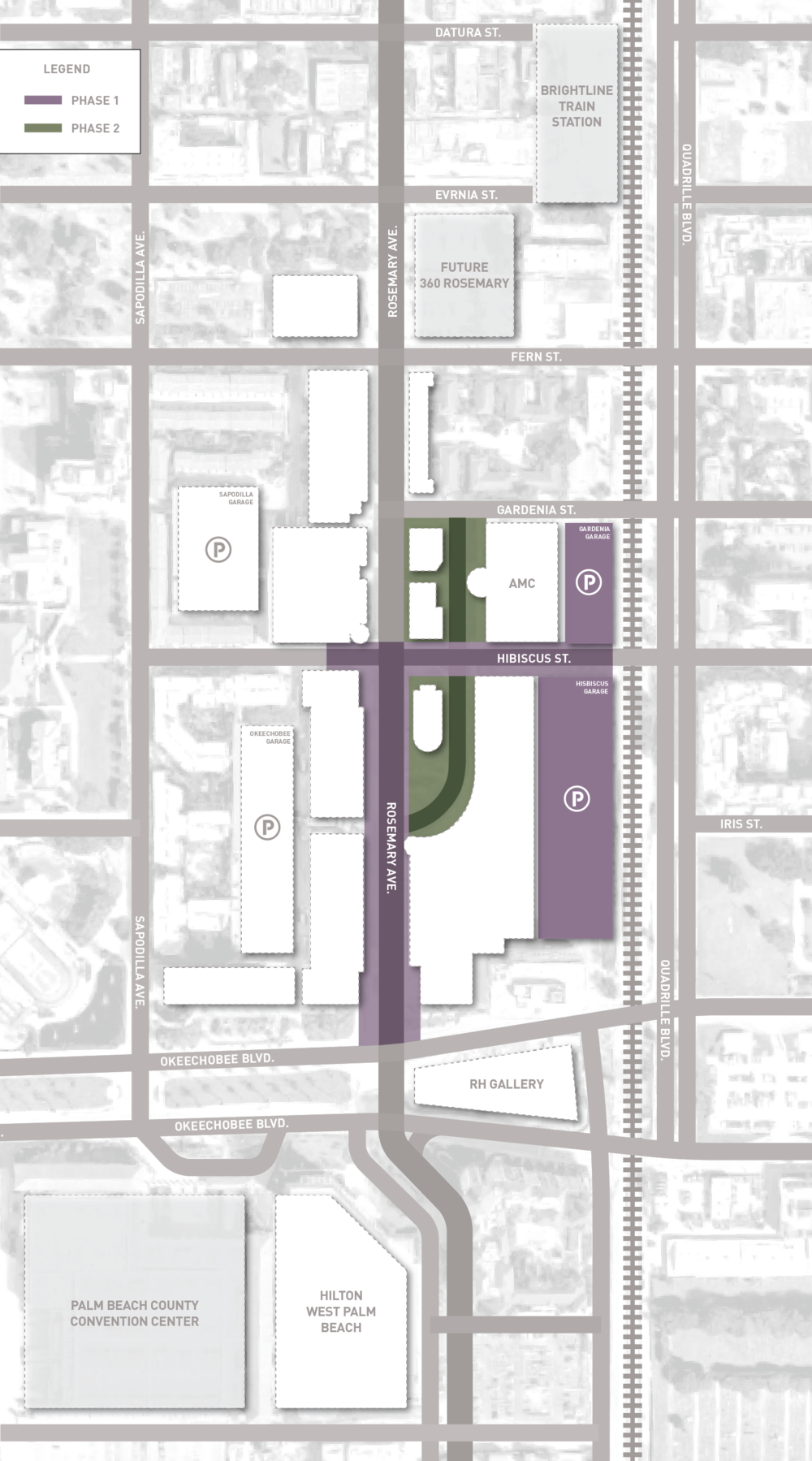 Phasing Plan - PHASE 1Under Construction as of October 29, 2018Projected Completion Spring 2019Rosemary Avenue: Relocated valet, new bike racks, new additional trolley stops, new canopies and shading, covered seating, curbless, update lighting, lush landscaping, art elements plus parking garage improvementsPHASE 2Projected Start - Summer 2019Square & Ground Level: Expanded green areas, outdoor dining venues, lighting improvements, art features Upper Entertainment Plaza: New public spaces, rejuvenated outdoor dining area, AMC Theater renovation including recliner seats